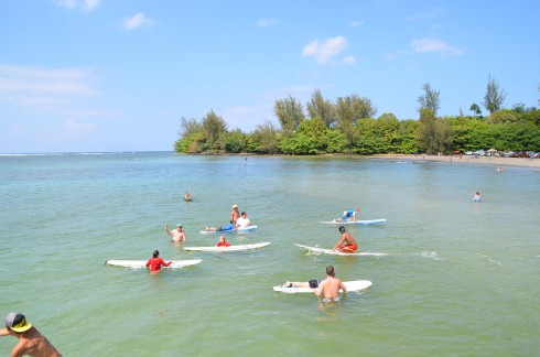 Learning to surf at Hanalei Bay
