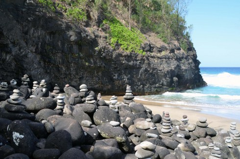 Inukshuks at Hanakapi'ai Beach