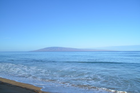 Kaanapali Beach with Lanai in the distance
