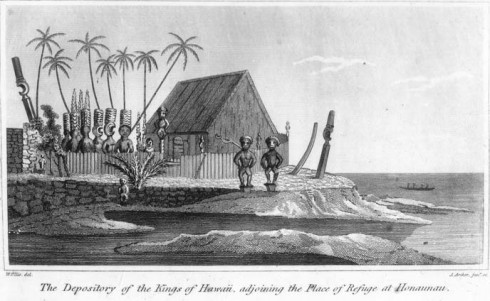 William Elliss depiction of Hale O Keawe in 1823