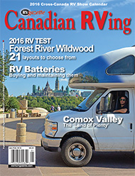 January, 2016 Canadian RVing cover