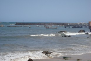 Accra Beach - From a distance it looks very nice with the traditional African fishing boats.
