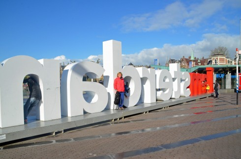 Alison outside Amsterdam