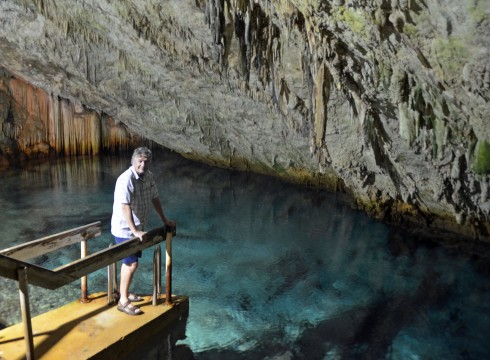 On the swimming ramp in Cathedral Cave