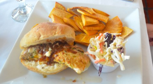 Touring Barbados - Mahi Mahi sandwich, Round House Restaurant