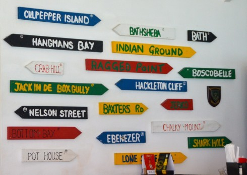 Signposts in Mullins Bay Bar