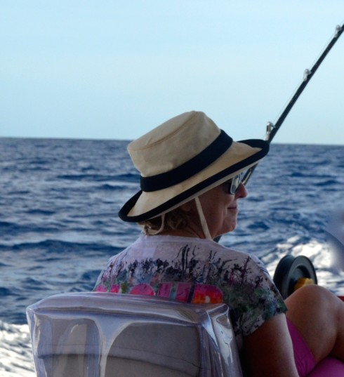 Alison in the Fishing Seat in Barbados