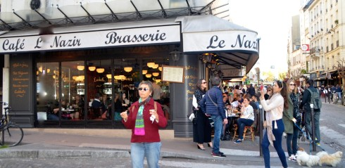 Rue des Abbesses at Cafe le Nazir in Montmartre