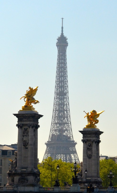 Eiffel Tower framed by Pegasus on Liberation Tour 2015