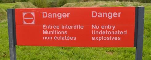 Danger Live Explosives at Beaumont Hamel