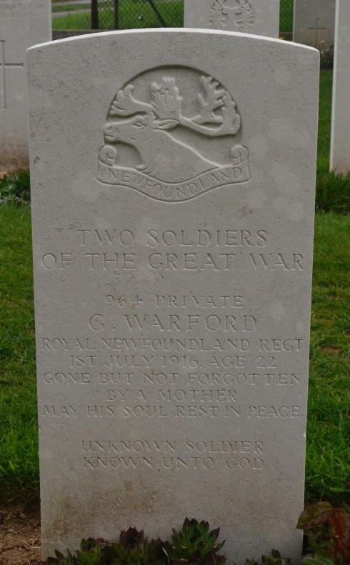 Garland Warford & Unknown Soldier at Beaumont Hamel