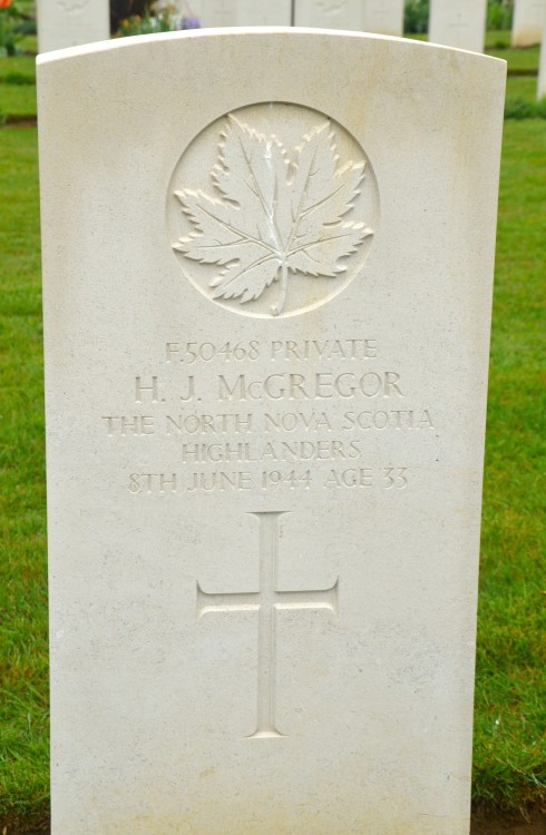 H.J. McGregor in Beny-sur-Mer Cemetery