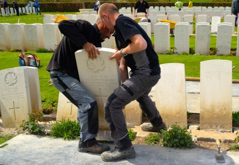 Replacing a tombstone in Dieppe Canadian War Cemetery