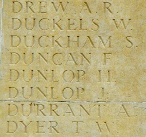 Two Missing Dunlops at Thiepval Monument