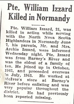 William Izzard killed in Normandy