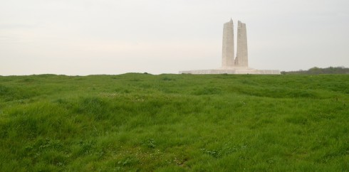 Approaching the Monument at Vimy Ridge
