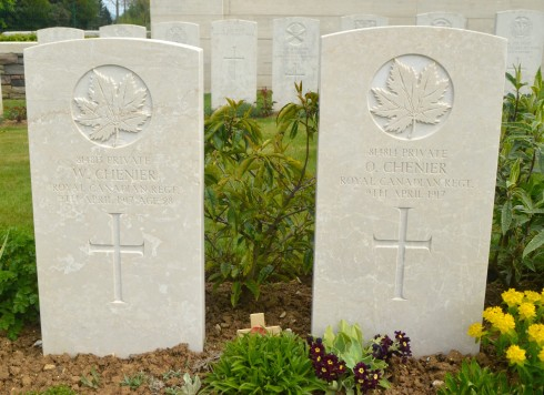 Chenier Brothers in Cabaret-Rouge Cemetery