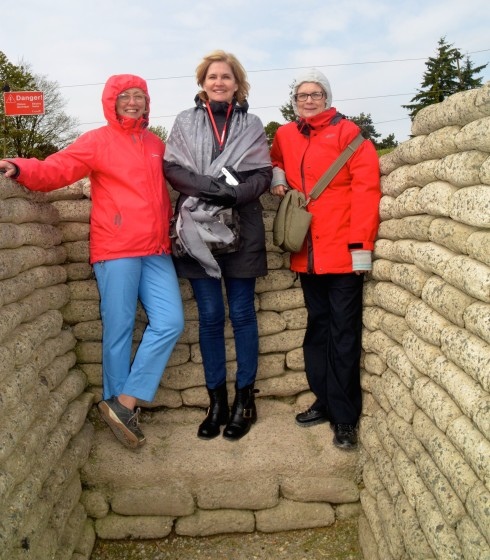 Alison, Kaye & Anne inside the Vimy Ridge Trenches