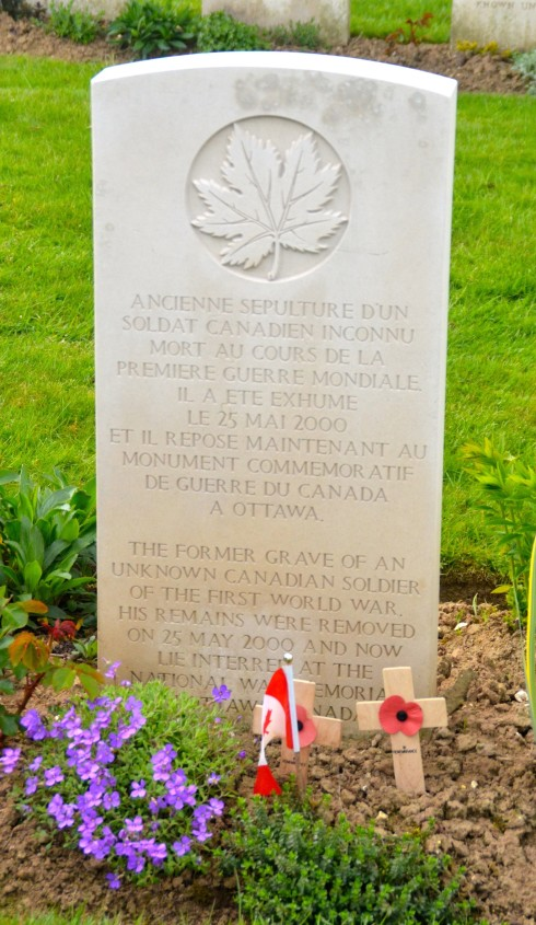 Former grave of Canada's unknown soldier in Cabaret-Rouge Cemetery