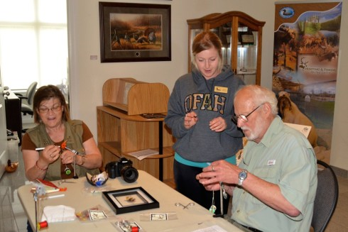 Judy & Alex getting a fly tying lesson