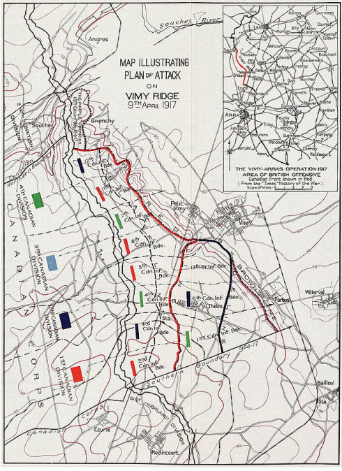 Plan of Vimy Ridge Attack