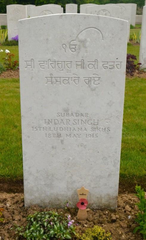 Subadar Indar Singh in Cabaret-Rouge Cemetery