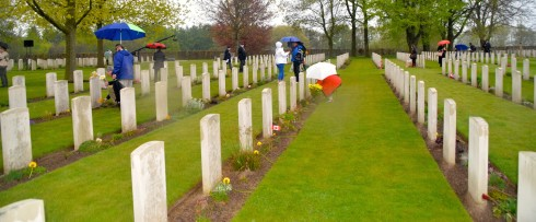 Laying of flowers at liberation of Holland ceremony Groesbeek cemetery