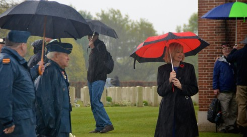 Laureen Harper with John Cannon at the liberation of Holland ceremony at Groesbeek cemetery