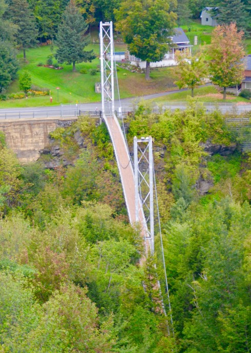 Looking down at the Coaticook Gorge Suspension Bridge