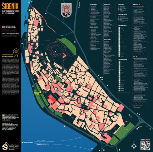 Map of old Sibenik Croatia