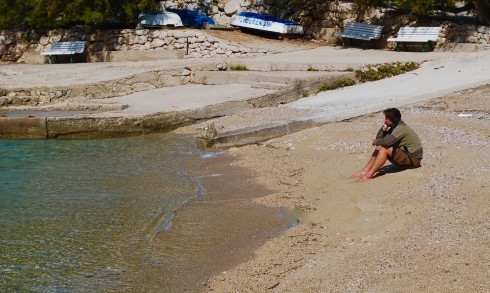 Mario contemplating Life on a beach in Korcula