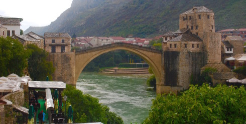 Mostar Bridge from the Muslim side, Bosnia and Herzegovina