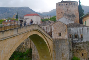 On the Mostar Bridge. Bosnia and Herzegovina