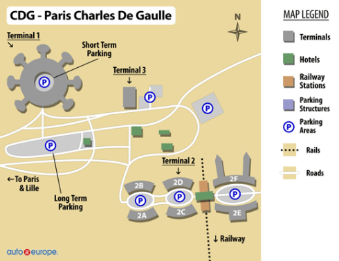 Map of CDG Terminals