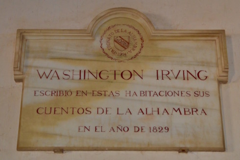 Alhambra Spain - The Washington Irving Plaque