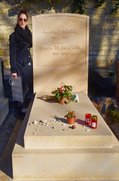 Simone de Beauvoir and Jean Paul Sartre in Montparnasse Cemetery
