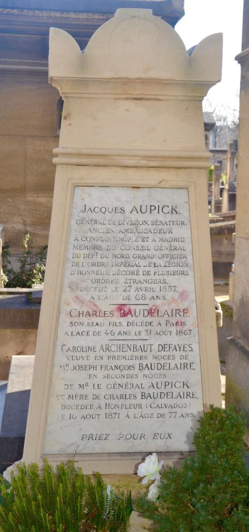 Baudelaire grave in Montparnasse Cemetery