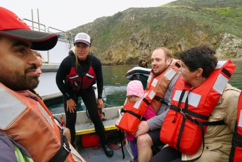 Zodiac landing on Santa Cruz Island