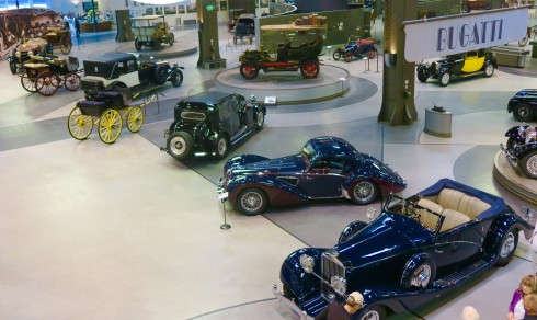 Looking Down at the Bugattis - Mullin Automotive Museum