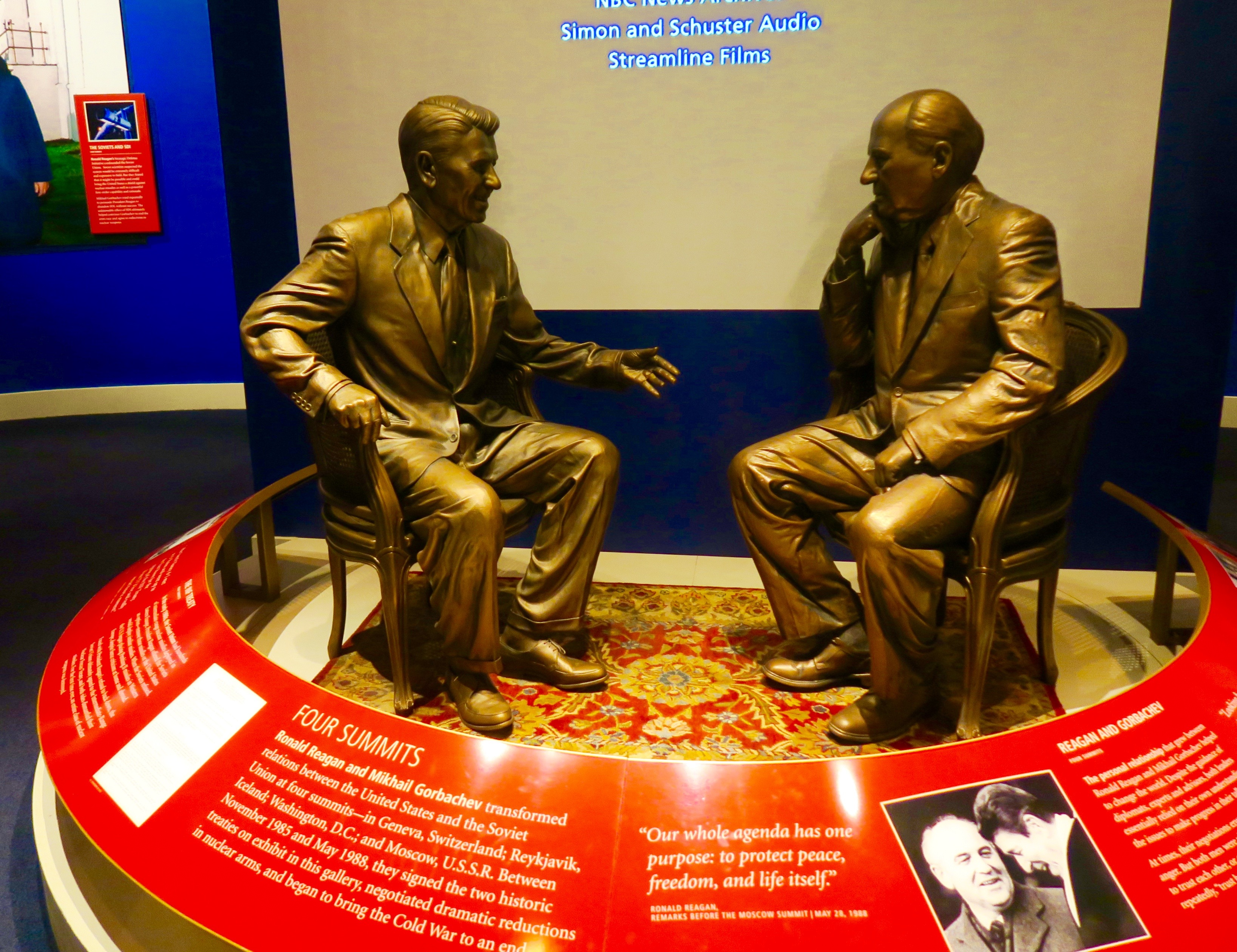 Statues of Reagan and Gorbachev at the Reagan Library