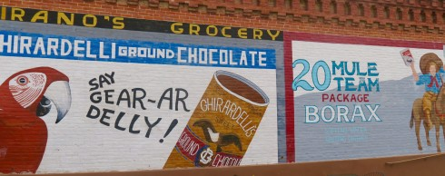 Advertising on the side of a building in Ventura California