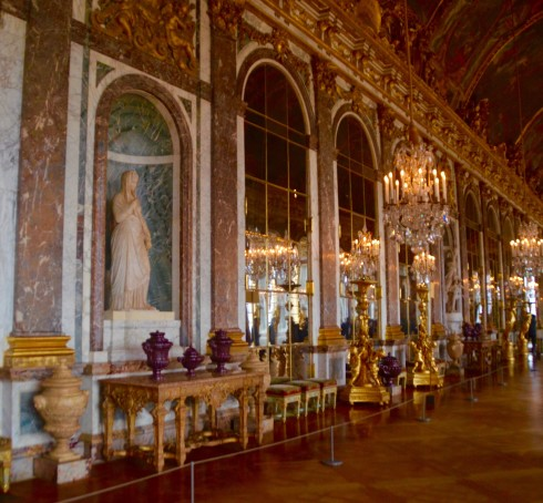Hall of mirrors while visiting Versailles