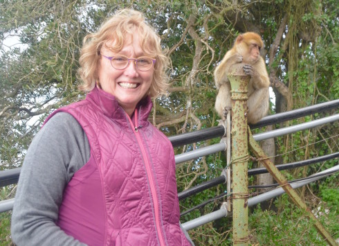Alison on the Rock of Gibraltar with a monkey