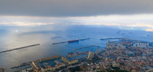 View of Gibraltar city from the cable car