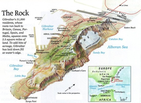 Map of the Rock of Gibraltar