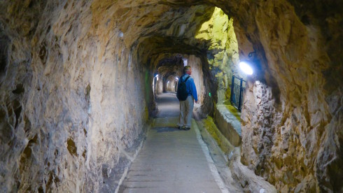 Inside the tunnels on the Rock of Gibraltar