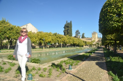 Alison in the Alcazar Gardens, Cordoba