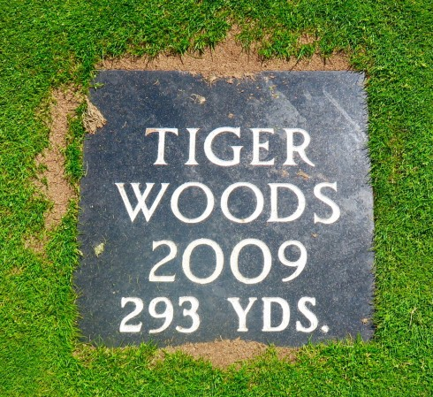 Tiger Woods Plaque on 16 Fairway