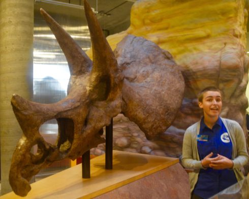 Our Guide Fen with Triceratops