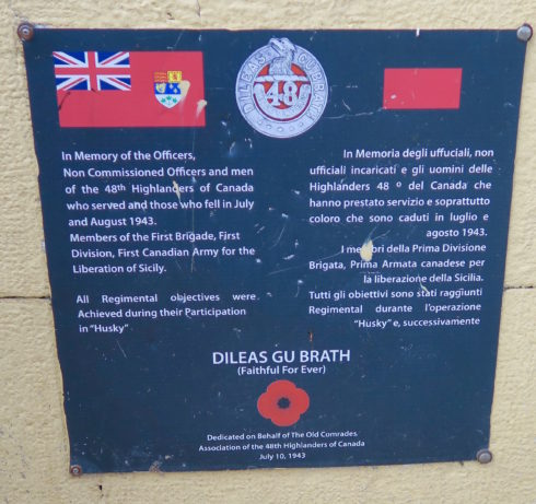 Pachino 48th Highlanders Plaque
